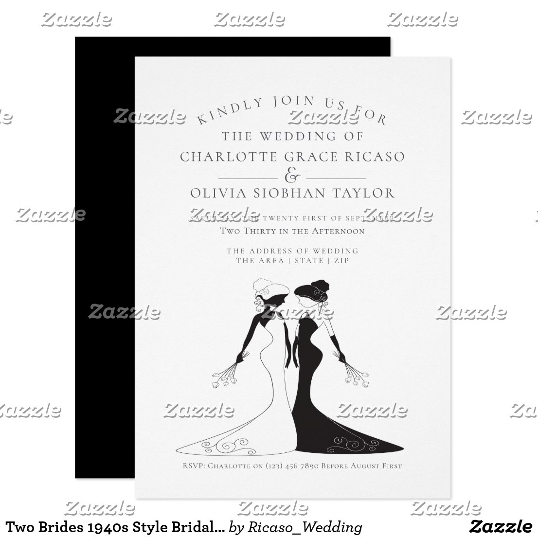 Two Brides 1940s Style Bridal Gowns Wedding Card