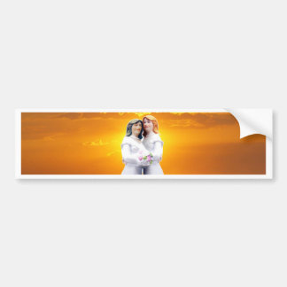 Two Brides at Sunset Bumper Sticker
