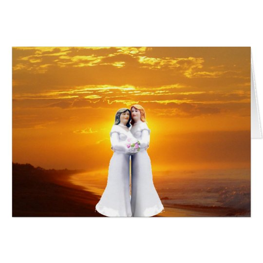 Two Brides at Sunset Card