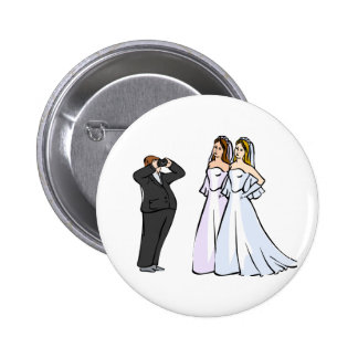 Two Brides being Photographed Pinback Button