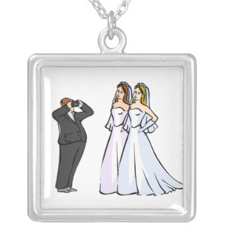 Two Brides being Photographed Silver Plated Necklace