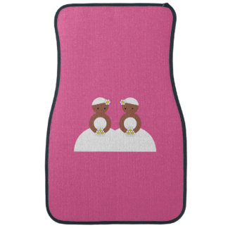 Two brides, both colored car mat