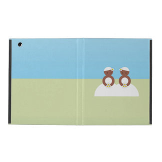 Two brides, both colored iPad covers