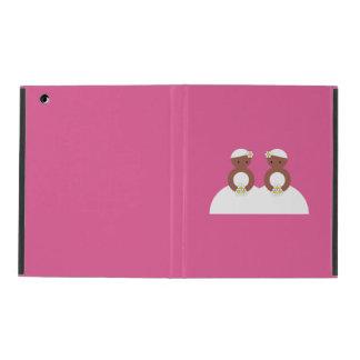 Two brides, both colored iPad folio cases