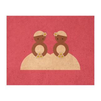 Two brides, both colored cork paper prints