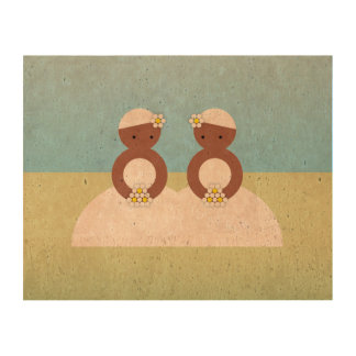 Two brides, both colored cork fabric
