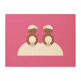 Two brides, both colored wood canvas