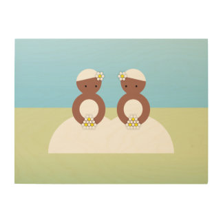 Two brides, both colored wood print