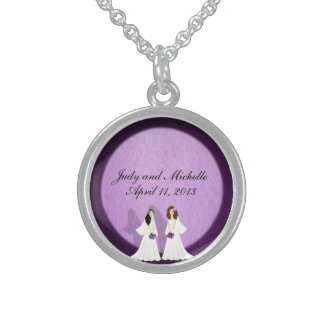 Two Brides Custom MOH or Bridesmaid Gift Necklace
