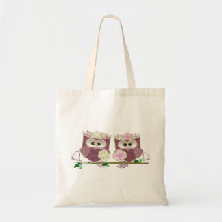 Two Brides Cute Wedding Owls Art Tote Bags