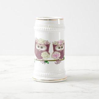Two Brides Cute Wedding Owls Art Beer Stein