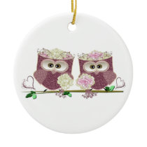 Two Brides Cute Wedding Owls Art Ceramic Ornament