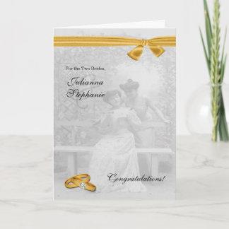 Two Brides Gay Wedding Congratulations Custom Card