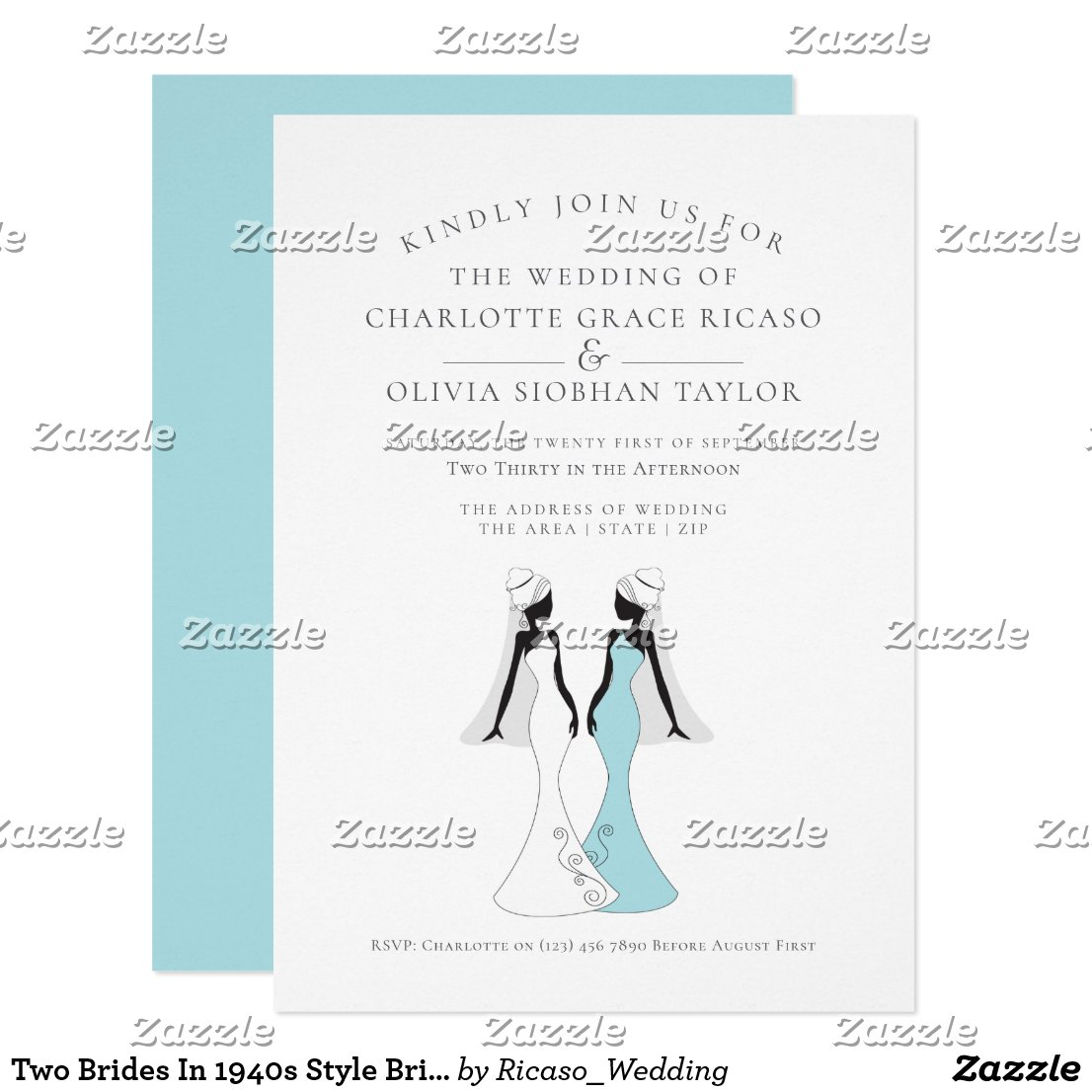 Two Brides In 1940s Style Bridal Gowns Wedding Card