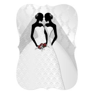 Two Brides In Bridal Gowns Elegant Wedding Card