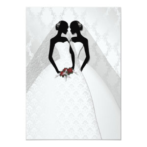 Two Brides In Bridal Gowns Elegant Wedding Card