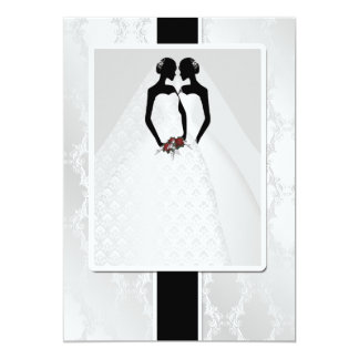 Two Brides In Bridal Gowns Wedding Card