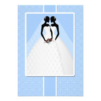 Two Brides In Bridal Gowns Wedding Personalized Invite