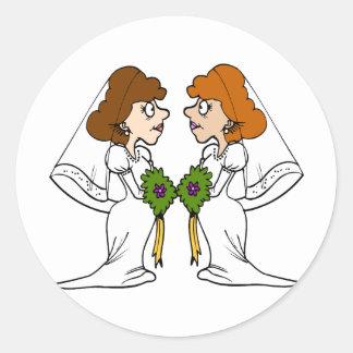 Two Brides in Love Classic Round Sticker