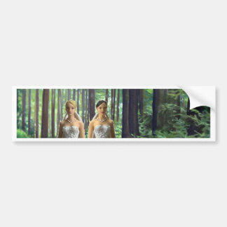 Two Brides in the Forest Bumper Sticker