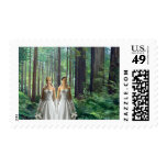 Two Brides in the Forest Postage Stamp