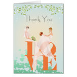 Two Brides LOVE  Lesbian  Thank You Wedding  Card