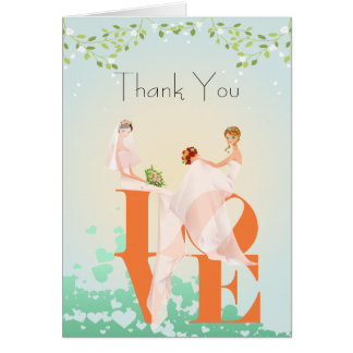 Two Brides LOVE  Lesbian  Thank You Wedding  Card