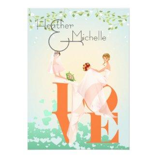 Two Brides LOVE Tangerine Personalized Invite