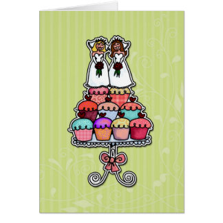 Two Brides on Cupcakes Greeting Card