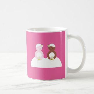 Two brides one caucasian coffee mug