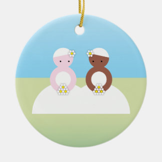 Two brides one caucasian Double-Sided ceramic round christmas ornament