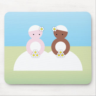 Two brides one caucasian mouse pad