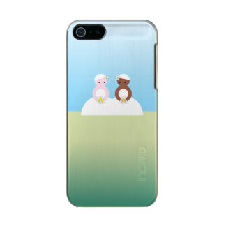 Two brides, one caucasian, one colored metallic phone case for iPhone SE/5/5s