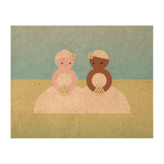 Two brides one caucasian one colored cork paper print