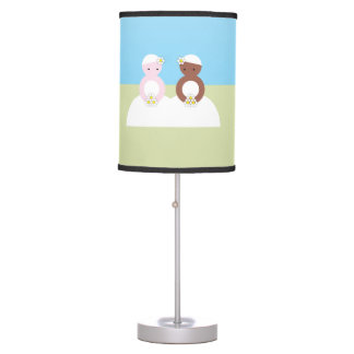 Two brides one caucasian one colored table lamp