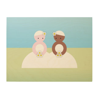 Two brides one caucasian one colored wood print
