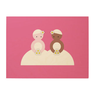 Two brides, one caucasian, one colored wood print