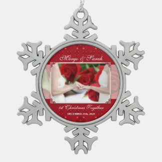 Two Brides Red First Christmas Custom Snowflake Pewter Christmas Ornament