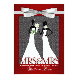Two Brides Red with White Gowns Wedding Card
