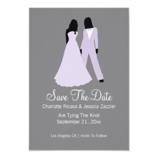 Two Brides Save The Date Wedding (Lilac And Grey) 3.5x5 Paper Invitation Card