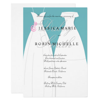 Two Brides Wedding Dress Lesbian Wedding Card