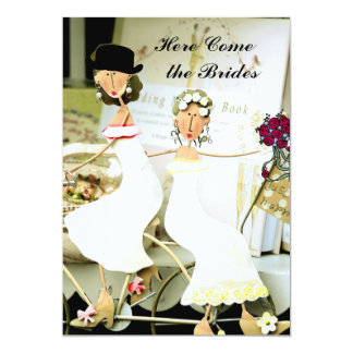 Two Brides Wedding Invitation with  two Brides