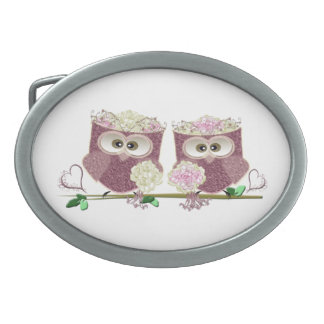 Two Brides Wedding Owls Art Gifts Oval Belt Buckles