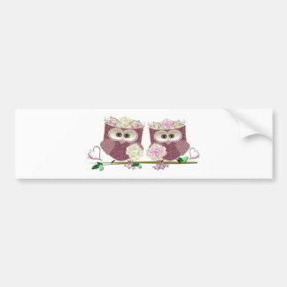 Two Brides Wedding Owls Art Gifts Bumper Sticker
