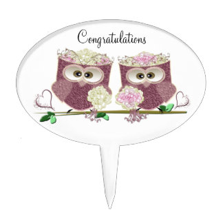 Two Brides Wedding Owls Art Gifts Cake Topper
