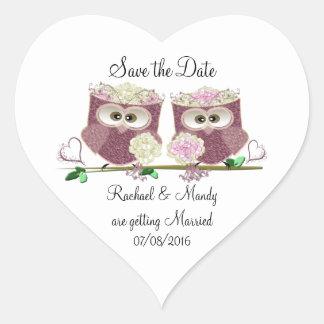 Two Brides Wedding Owls Art Gifts Heart Sticker