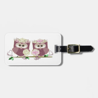 Two Brides Wedding Owls Art Gifts Tag For Luggage