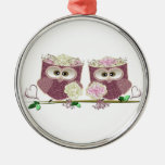 Two Brides Wedding Owls Art Gifts Ornament