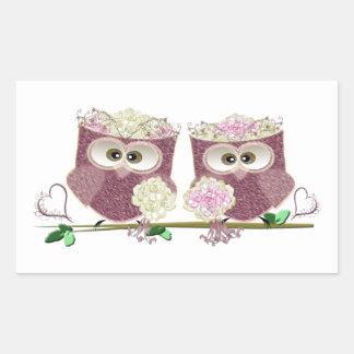 Two Brides Wedding Owls Art Gifts Rectangular Sticker