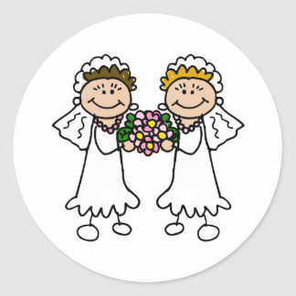 Two Brides with Flowers Classic Round Sticker